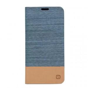 Дизайнерский чехол флип подставка на силиконовой основе с отделением для карты с тканевым покрытием для Samsung Galaxy A3 (2016) Голубой
