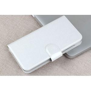 Чехол портмоне подставка на пластиковой основе с отделением для карт и магнитной застёжкой для Huawei Y5c Белый