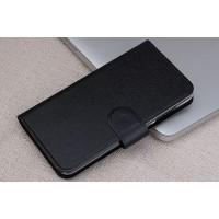Чехол портмоне подставка на пластиковой основе с отделением для карт и магнитной застёжкой для Huawei Y5c Черный