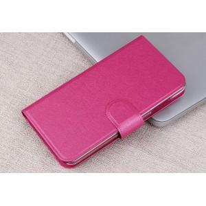Чехол портмоне подставка на пластиковой основе с отделением для карт и магнитной застёжкой для Huawei Y5c Розовый