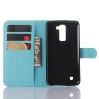 Чехол портмоне подставка с защелкой для LG K10 Голубой