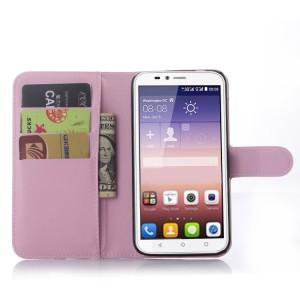 Чехол портмоне подставка на силиконовой основе с отсеком для карт и магнитной защелкой для Huawei Y625 Розовый