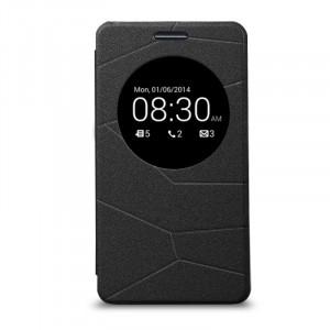 Текстурный чехол флип-подставка с окном вызова для ASUS Zenfone 5 Черный
