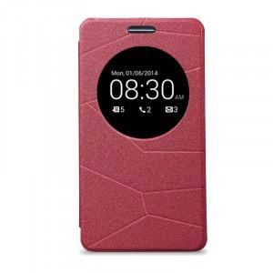 Текстурный чехол флип-подставка с окном вызова для ASUS Zenfone 5 Красный