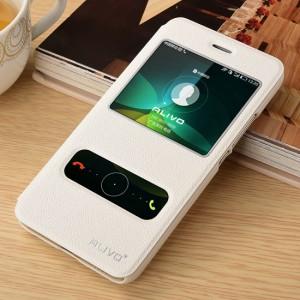 Чехол флип подставка на пластиковой основе с окном вызова и свайпом для Huawei Y6 Белый