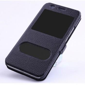 Кожаный чехол флип подставка на пластиковой основе с окном вызова и свайпом с магнитной защёлкой для Huawei Y6