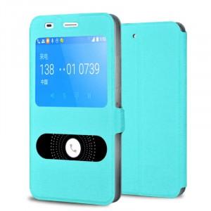 Чехол флип подставка на пластиковой основе с окном вызова и свайпом с магнитной защёлкой для Huawei Y6 Голубой
