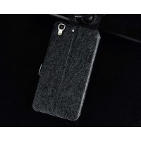 Чехол флип подставка на силиконовой основе с магнитной застёжкой текстура Золото для Huawei Y6  Черный