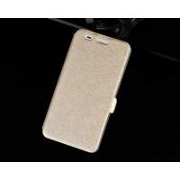 Чехол флип подставка на силиконовой основе с магнитной застёжкой текстура Золото для Huawei Y6