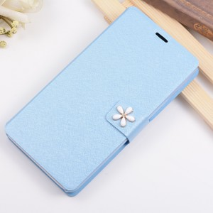 Текстурный чехол флип подставка на пластиковой основе с дизайнерской застежкой для Huawei Y6 Голубой
