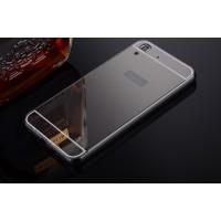 Гибридный металлический двухкомпонентный чехол и поликарбонатной крышкой с зеркальным покрытием для Huawei Y6 Черный