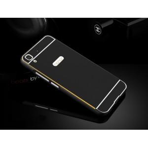 Двухкомпонентный чехол с металлическим бампером и поликарбонатной накладкой с золотой окантовкой для Huawei Y6 Черный