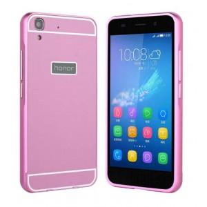 Двухкомпонентный чехол с металлическим бампером и поликарбонатной накладкой для Huawei Y6 Розовый