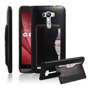 Чехол накладка текстурная отделка Кожа с отсеком для карт и подставкой для ASUS Zenfone Selfie Черный