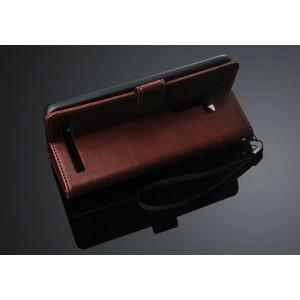 Глянцевый чехол портмоне подставка на пластиковой основе с защелкой для ASUS Zenfone Selfie Коричневый