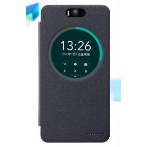 Чехол флип на пластиковой матовой нескользящей премиум основе с окном вызова для ASUS Zenfone Selfie Черный