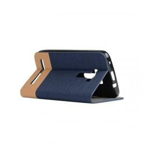 Текстурный чехол подставка на силиконовой основе с отделением для карты для ASUS Zenfone Selfie Синий