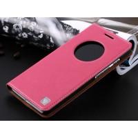 Кожаный чехол флип-подставка с окном вызова для ASUS Zenfone 6 Розовый