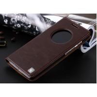 Кожаный чехол флип-подставка с окном вызова для ASUS Zenfone 6 Коричневый