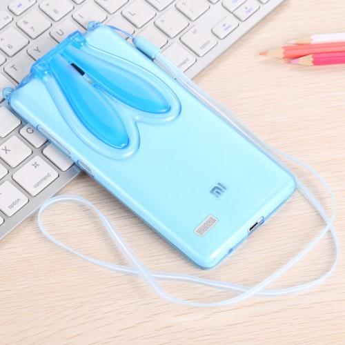 Силиконовый дизайнерский фигурный чехол Заяц со складными ушами для Xiaomi RedMi Note 3 Розовый