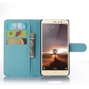 Чехол портмоне подставка с защелкой для Xiaomi RedMi Note 3 Голубой
