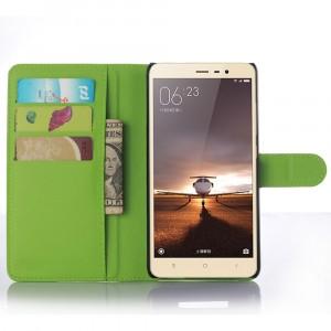 Чехол портмоне подставка с защелкой для Xiaomi RedMi Note 3 Зеленый