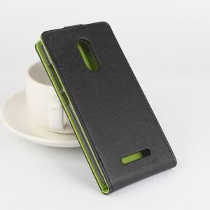 Чехол вертикальная книжка на силиконовой основе с магнитной застежкой текстура Ткань для Xiaomi RedMi Note 3 Черный