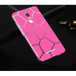 Двухкомпонентный чехол с металлическим бампером и поликарбонатной накладкой с принтом для Xiaomi RedMi Note 3 Розовый