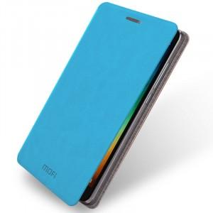 Водоотталкивающий чехол флип подставка на силиконовой основе для Xiaomi RedMi Note 3 Голубой