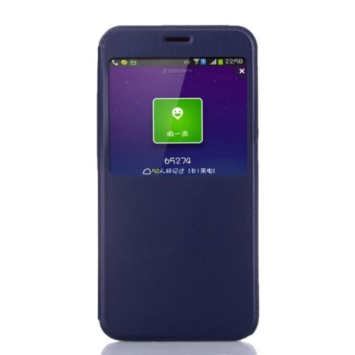 Чехол флип подставка текстурный с окном вызова для Xiaomi RedMi Note 3 Пурпурный