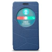 Текстурный чехол-флип с окном вызова для ASUS Zenfone 6 Голубой