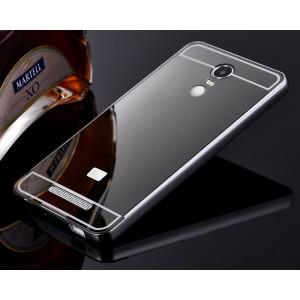 Гибридный металлический двухкомпонентный чехол и поликарбонатной крышкой с зеркальным покрытием для Xiaomi RedMi Note 3 Черный