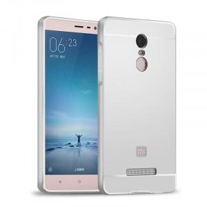 Двухкомпонентный чехол с металлическим бампером и поликарбонатной накладкой для Xiaomi RedMi Note 3 Белый