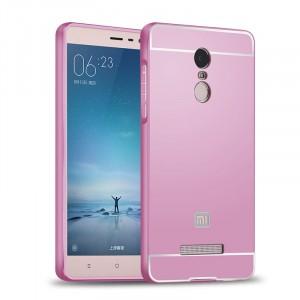 Двухкомпонентный чехол с металлическим бампером и поликарбонатной накладкой для Xiaomi RedMi Note 3 Розовый