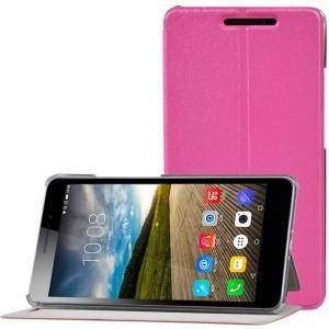 Чехол книжка подставка на пластиковой транспарентной основе для Lenovo Phab Plus Пурпурный