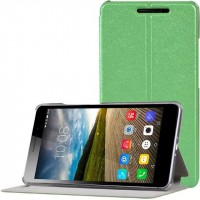 Чехол книжка подставка на пластиковой транспарентной основе для Lenovo Phab Plus Зеленый