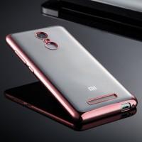 Силиконовый матовый полупрозрачный чехол с металлическим напылением для Xiaomi RedMi Note 3 Розовый