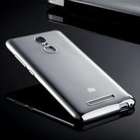 Силиконовый матовый полупрозрачный чехол с металлическим напылением для Xiaomi RedMi Note 3 Белый