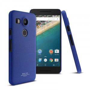 Пластиковый матовый чехол с повышенной шероховатостью для Google LG Nexus 5X Синий