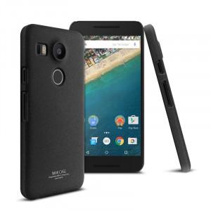 Пластиковый матовый чехол с повышенной шероховатостью для Google LG Nexus 5X Черный