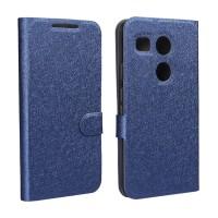 Текстурный чехол флип подставка на силиконовой основе с отделением для карт для Google LG Nexus 5X Синий