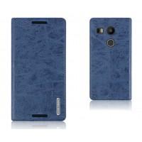 Текстурный чехол флип подставка на присоске с отделением для карты для Google LG Nexus 5X Синий