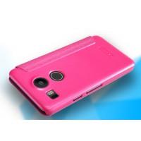 Чехол флип на пластиковой матовой нескользящей основе для Google LG Nexus 5X Розовый
