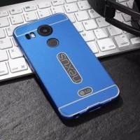 Двухкомпонентный чехол с металлическим бампером и поликарбонатной накладкой с вырезом под лого для Google LG Nexus 5X Синий