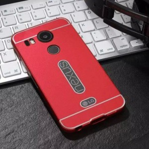 Двухкомпонентный чехол с металлическим бампером и поликарбонатной накладкой с вырезом под лого для Google LG Nexus 5X