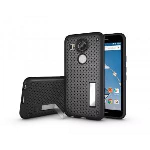 Двухкомпонентный силиконовый чехол с пластиковым бампером и подставкой для Google LG Nexus 5X Черный