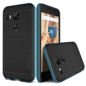 Антиударный гибридный силиконовый чехол премиум с поликарбонатным бампером для Google LG Nexus 5X Синий