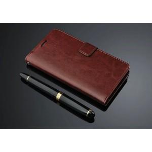 Глянцевый чехол портмоне подставка с защелкой для ZTE Nubia Z9 Max Коричневый