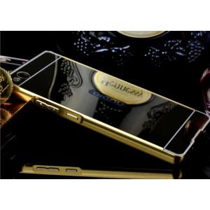 Гибридный металлический двухкомпонентный чехол и поликарбонатной крышкой с зеркальным покрытием для ZTE Nubia Z9 Max Бежевый