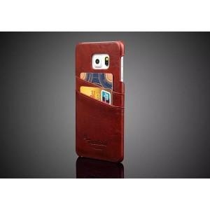 Чехол накладка с отделением для карт текстура Кожа для Samsung Galaxy S6 Edge Plus Коричневый